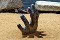 Картинка rocks, sand, stones, hand, sculpture, artistic metal