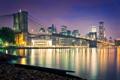 Картинка город, огни, вечер, нью йорк