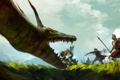 Картинка трава, оружие, люди, дракон, арт, битва, гном