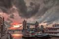 Картинка небо, город, река, Тауэрский мост, Tower Bridge, London, England