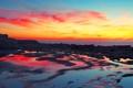 Картинка закат, камни, скалы, небо, облака, зарево, море