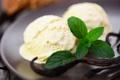 Картинка листья, ваниль, сладкое, десерт, мороженое, шарики