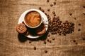 Картинка пена, кофе, печеньки, печенье, зерна, чашка, блюдце