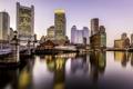 Картинка мост, река, дома, утро, причал, США, набережная