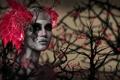 Картинка розы, Девушка, Красные глаза, ветки деревьев