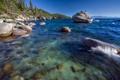 Картинка озеро Тахо, камни, Lake Tahoe