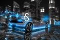 Картинка Lamborghini, City, Car, Blue, Neon, Sesto Elemento, el Tony Cars