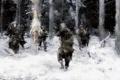 Картинка зима, лес, снег, атака, рисунок, бой, Солдаты