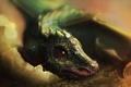 Картинка дракон, яйцо, арт, ящер, детеныш, Gina Nelson