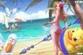 Картинка песок, море, пляж, купальник, попа, девушка, арт