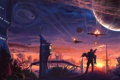 Картинка девушка, цветы, оружие, планеты, здания, корабли, бой
