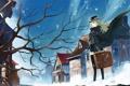 Картинка зима, девушка, снег, дерево, дома, шляпа, аниме