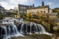 Картинка England, река, North Yorkshire, поток, пороги, Англия, дома