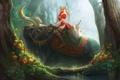 Картинка лес, девушка, цветы, меч, существо, арт, рога