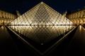 Картинка ночь, Paris, музей, город, Louvre, пирамида, France