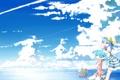 Картинка море, небо, облака, велосипед, девушки, bili bili Douga