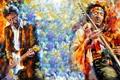 Картинка Картина, гитарист, живопись, искусство, певец, композитор, Jimi Hendrix