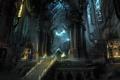 Картинка замок, человек, сооружение, свечи, портал, арт, электричество