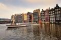 Картинка лодка, корабль, дома, канал, амстердам, nederland, amsterdam