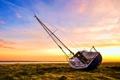 Картинка трава, река, берег, лодка, парусник, арт
