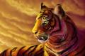 Картинка язык, кошка, морда, тигр, хищник, арт, дикая