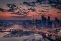 Картинка город, огни, утро, США, Пенсильвания, штат, Питтсбург