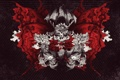 Картинка wallpaper, skull, red, white, black, art, fish