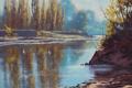 Картинка осень, река, вода, artsaus, деревья, природа, арт