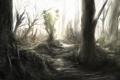 Картинка лес, деревья, природа, стволы, чаща, арт