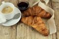Картинка кофе, завтрак, выпечка, джем, croissant, breakfast, круассан
