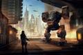 Картинка город, человек, робот, небоскребы, порт, охрана, погрузчик