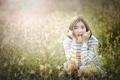 Картинка поле, лето, трава, девушка, лицо, волосы