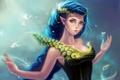 Картинка девушка, перья, фэнтези, арт, эльфийка