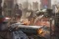 Картинка город, огонь, поезд, робот, арт, нападение, руины