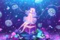 Картинка цветок, океан, аниме, кораллы, слезы, арт, медузы