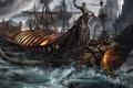 Картинка волны, огонь, магия, корабль, парусник, голова, фэнтези