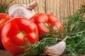 Картинка помидоры, чеснок, укроп