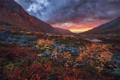 Картинка осень, небо, закат, горы, тучи, камни, озера