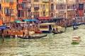 Картинка гандолы, туристы, лодки, Венеция