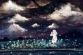 Картинка небо, облака, цветы, ночь, светлячки, аниме, арт