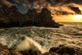 Картинка волны, закат, скалы, берег