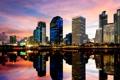 Картинка закат, город, отражение, река, здания, небоскребы, Thailand
