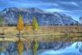 Картинка облака, осень, деревья, горы, небо, озеро