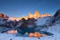 Картинка зима, снег, горы, озеро, скалы, рассвет
