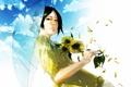 Картинка девушка, цветы, зонт, арт, re°