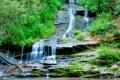 Картинка деревья, пейзаж, горы, ручей, скалы, водопад, поток