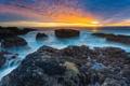 Картинка камни, океан, скалы, рассвет, берег, USA, Oregon Coast