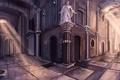 Картинка улица, тень, арт, статуя, арки, парень, лучи света