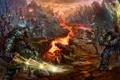 Картинка горы, скалы, меч, армия, маг, шлем, броня