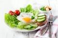 Картинка завтрак, огурец, яичница, помидоры, салат, breakfast, egg
